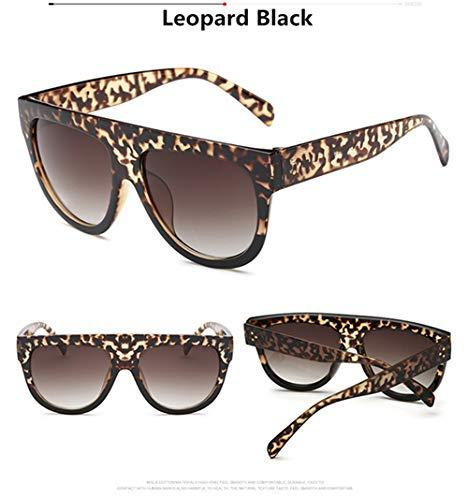 NSYJDSP Flat Top Übergroße Frauen Sonnenbrille Retro Schild Form Luxusmarke Design Big Frame Rivet Shades Sonnenbrille Frauen UV400 Eyewear Leopard Schwarz