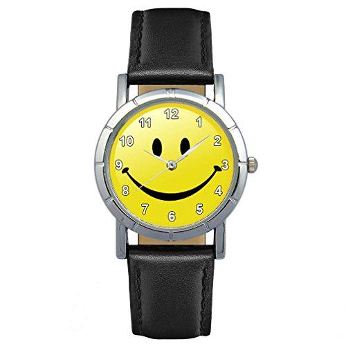 Timest - Smiley Motiv Damenuhr mit Lederarmband Rund Analog Quarz SA1893CC