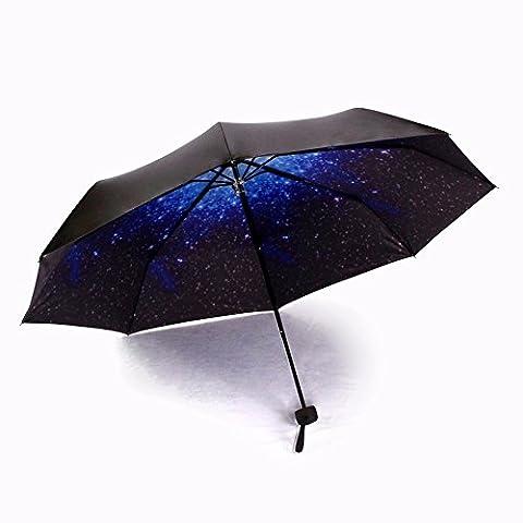 étoile Parapluie Petit frais toutes saisons Parapluie pliant rétro Creative personnalité complète Parapluie automatique, bleu