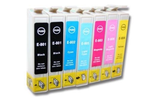 vhbw 7x Druckerpatronen Tintenpatronen Set für Epson Stylus Photo PX720 WD, RX685, P50, PX810FW.