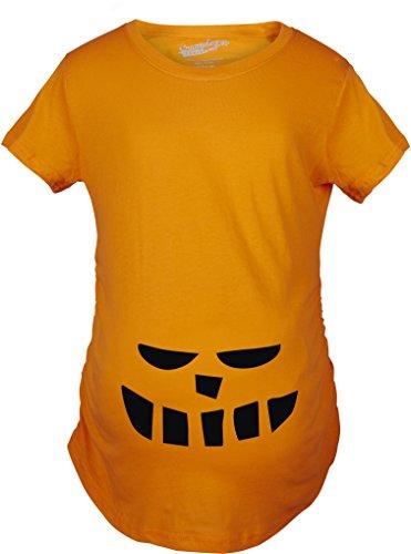 Crazy Dog TShirts - Maternity Smiling Teeth Pumpkin Face Halloween Pregnancy Announcement T shirt (Orange) L - damen - L (Bump Schwangerschaft Kostüm)