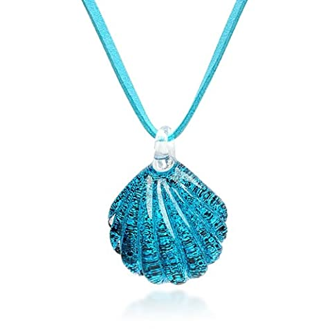 Hand Blown Venetian Murano Glass Ocean Blue Sea Shell Shaped Pendant Necklace, 18-20 inches by