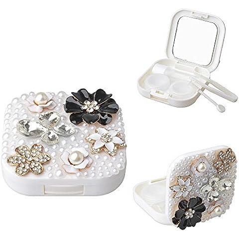 EVTECH(TM) 3D Bling diamantes de imitación de la chispa Diseño Contacto Caja de lente w Kit Botella Viajes