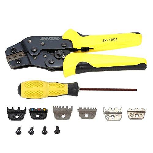 Meterk Pince à Sertir Outils de Sertissage de Câble à Cliquet 4-en-1 Kit avec 4 mâchoires interchangeables