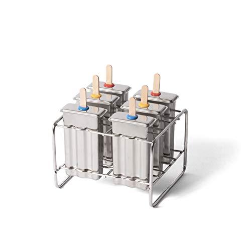 ECO Brotbox | ECO Ice Pops | Eisformen für EIS am Stiel aus Edelstahl | 6 Popsicles Formen + Halterung