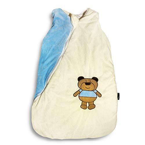 Ganzjahres Baby-Schlafsack in 70cm länge   blau/beige mit Teddymotiv   Wattiert mit Baumwolle   Ganzjährig in 2,5TOG   Erstausstattung für neugeborene Jungen zwischen 0-10 Monate von MF-Products
