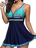 SHOBDW Damen Plus Größe Steigung Tankini Swim Jupmsuit Badeanzug Beachwear Gepolsterte Bademode Frauen Elegant Drucken Baden Badeanzug Badeanzüge