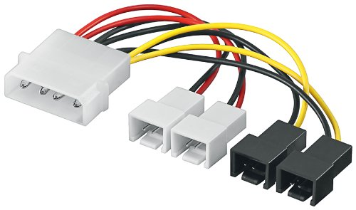Goobay 93632 Lüfter Spannung Adapterkabel (4-polig auf 2x 3-polig 12V und 2x 3-polig 5V) weiß