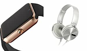 MIRZA GT08 Smart Watch & Extra Extra Bass XB450 Bluetooth Headphones for LG g5 (Extra Extra Bass XB 450 Headphones & GT08 Smart Watch Wrist Watch Phone with Camera & SIM Card Support Hot Fashion New Arrival Best Selling Premium Quality Lowest Price with Apps like Facebook,Whatsapp, Twitter, Sports, Health, Pedometer, Sedentary Remind & Sleep Monitoring, Better Display, Loud Speaker, Microphone, Touch Screen, Multi-Language, Compatible with Android iOS Mobile Tablet-Assorted Color)
