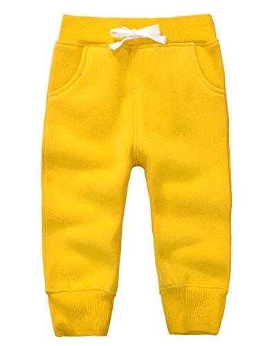 ngen Mädchen Hosen Kinder Jogginghose Baumwolle Fleece Elastische Taille Sweathosen Winter Pants Größe 4 Jahre Gelb (Halloween-fleece-stoff)
