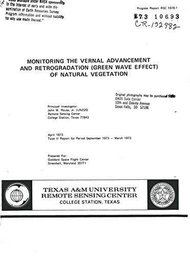 Monitoring the vernal advancement and retrogradation (green wave effect) of natural vegetation (English Edition)