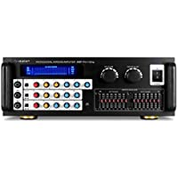 Auna Pro1-Sing Hifi DJ PA Amplifier • Highly Differentiated Echo Effect • 600W • 2-Zone Amplifier • 3 Microphone Inputs • 7-Band per Channel Equalizer • Finely Adjustable Microphone Settings • Large and Detailed Retro Display • Black