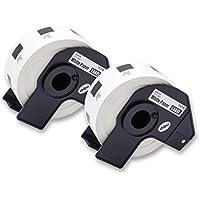 vhbw 2X Rollos de Etiquetas Adhesivas Redondas para Brother P-Touch QL-550, QL-560, QL-560VP, QL-570, QL-580, QL-580N, QL-650, QL-650TD, QL-700