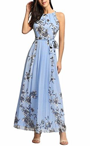 Frauen Blumendruck Casual Sommer Strand Urlaub Maxi Chiffon Kleid blau S