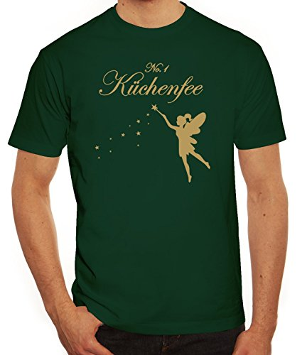 Kochen Koch Köchin Küchen Party Herren Männer T-Shirt Rundhals Fee - No. 1 Küchenfee, Größe: XXL,Dunkelgrün
