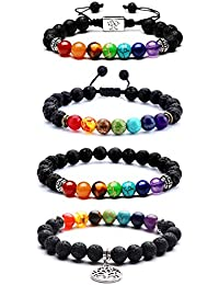 EAONE 4 Pcs Lava Stone Bracelets 8mm Chakra Beads 7 Colors Aromatherapy Essential Oil Diffuser Bracelets Bangle with Braided Rope for Men Woman