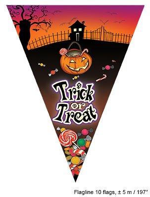 lang mit 10 Wimpelfähnchen Halloween Trick or Treat (5 Halloween-tricks)
