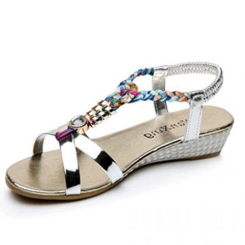 Damen Sandalen Sommer Btruely Lässig Sandalen Mädchen Fesselriemen Schuhe Flach Sandalen Strandschuhe (36, Silber) (Flache Spitzen Zehe Schuhe)