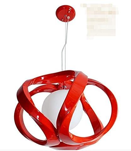 Sai Tai@LED Pendelleuchte Höhenverstellbar Küchen Deckenleuchte Wohnzimmer Designleuchte Deckenlampe Schlafzimmer Modern ,rot,Harz,29.5cm*29.5cm