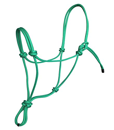 Pferde Seil-Halfter Knotenhalfter für Parelli Bodenarbeit Natural Horsemanship Arbeit (Grün, Extra Full/ Warmblood) -
