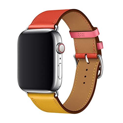 XCool für Apple Watch Armband 42mm 44mm, Leder Rot Orange Armbänder für iwatch Series 4 Series 3 Series 2 Series 1 Hermes -