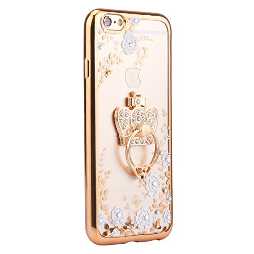 Coque pour iPhone SE/5S/5,iPhone SE Or Coque en Silicone Clair Ultra-Mince Etui Housse avec Bling Diamant,iPhone 5S Placage Coque Bling Bling Glitter Sparkle Diamond Silicone Case Rose Gold Slim Soft  Or couronne impériale-Fleur Blanche