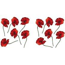PLAGE 152001 Adhesivos de decoración -Amapolas rojas, 2 Hojas, 11 x 10,5 cm