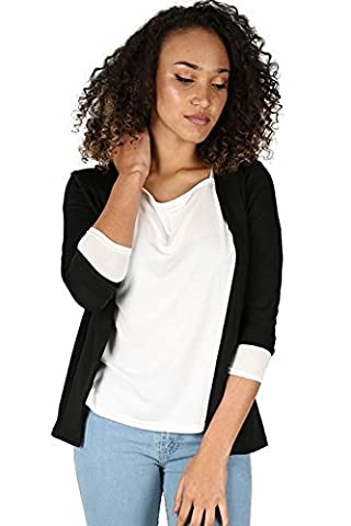 Womens Ladies 3/4 Turn Up Sleeve Open Front Collar Casual Coat Blazer Jacket Plus Size UK 18 Black