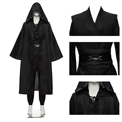 FLYA Halloween Death Cape Umhang Adult Velvet Hooded Cloak Vampire Masquerade Mit Kapuze Robe,Black-M