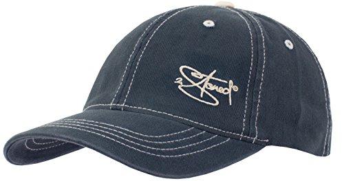 2Stoned Original Flexfit Soft Front Cap Contrast Stitch in Navy Kontrastnähte Stone mit Stick Classic Logo Größe S/M (56cm - 59cm) -