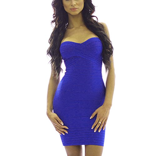 HLBandage Women's Sexy Strapless Mini Bodycon Bandage Dress Blu