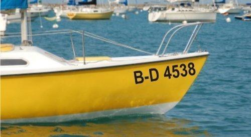 Shirtstown Bootskennzeichen Bootsnummer 2 Stück, Bootbeschriftung, Nummern fürs Boot -