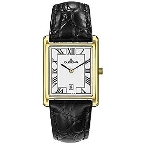 Dugena Damen Armbanduhr Quadra Classica Leder 26x33mm schwarz-gold-weiß
