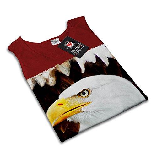 Adler Freiheit Gesicht Tier Wild Vogel Damen S-2XL Muskelshirt | Wellcoda Rot