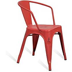 Silla Tolix Arms Style Vintage - Roja - Inspiración Industrial - 45 cm x 42 cm x 72 cm - SANTANI MOBILI