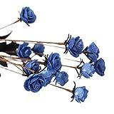 happy event Unechte Blumen | PE Rose Künstliche Deko Blumen Gefälschte Blumen | Braut Hochzeitsblumenstrauß für Haus Garten Party Blumenschmuck (Blau)