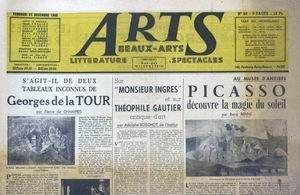 ARTS [No 99] du 27/12/1946 - PICASSO DECOUVRE LA MAGIE DU SOLEIL PAR RENE RENNE - MONSIEUR INGRES - THEOPHILE GAUTIER PAR A. BOSCHOT - GEORGES DE LA TOUR PAR PIERRE DE CHAMPRIS.
