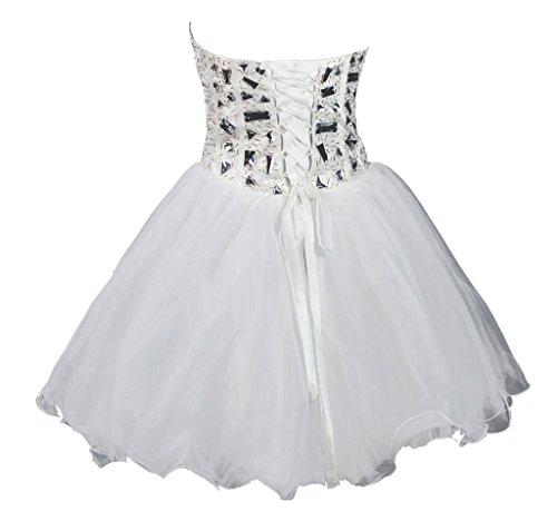 Vantexi Damen Trägerlosen Kurz Kristall Abendkleid Ballkleid Weiß