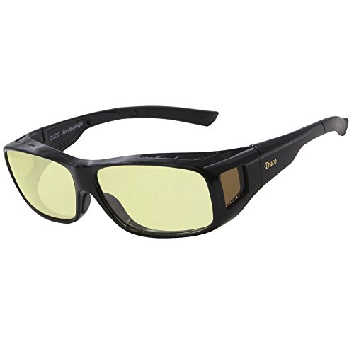 DUCO Blaufilterbrille Blaulicht und UV Schutzbrille Computerbrille Gaming Brille Überziehbrille für Brillenträger Fit-over Brille 8954L
