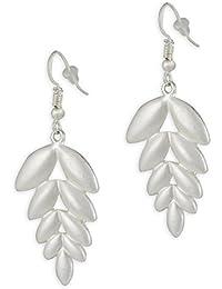 Karatcart Silver Leaf Drop Earrings For Women