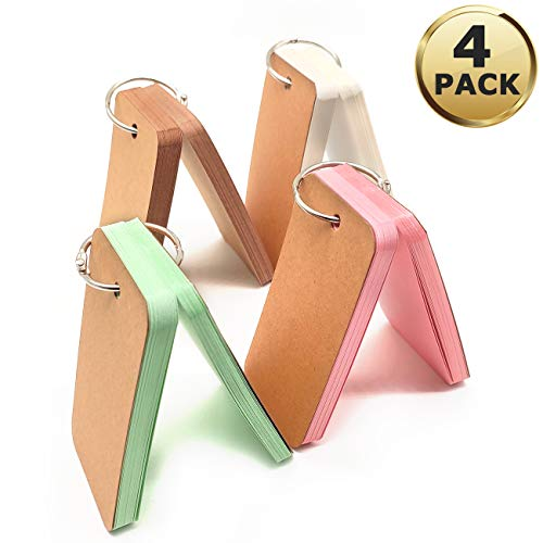 4 Pack Pocket Lernkarten,200 Teile 5,5 x 9,0 cm Karte Papier Studie Karten,Mini Karteikarten Study Flash Card Notizbuche ,Multicolor Notizblöcke Memo Scratch mit Binderringe ür Schule Bürobedarf