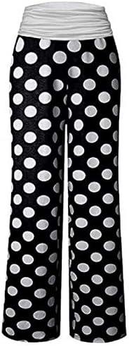 UUYUK Women's Casual Fold Over Waist Yoga Wide Leg Palazzo Lounge P