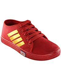 Zapatoz Canvas Red Suede Casual Fit Sneakers/Casual Suede Sneakers/Suede Sneakers For Women's/Laides/Female's/...