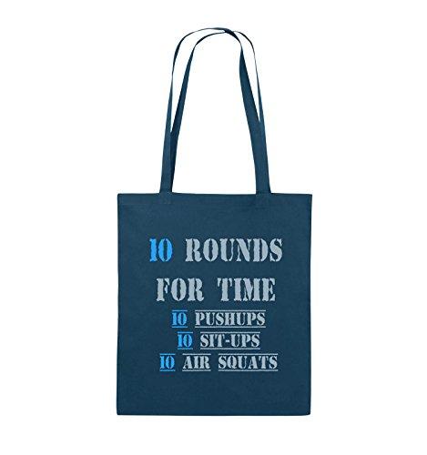 Comedy Bags - 10 Rounds for time 10 pushups 10 sit ups 10 air squats - Jutebeutel - lange Henkel - 38x42cm - Farbe: Schwarz / Weiss-Neongrün Navy / Eisblau-Hellblau