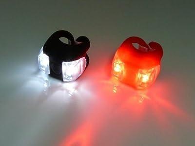 1 Paar LED Licht sehr hell Fahrrad LED FAHRRADLAMPE-Mount an Gabel Lenker Sattelstütze rot und WEI?LICHT-Frosch