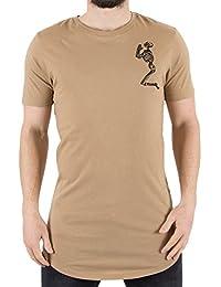 Religion Praying Skeleton Longline T-Shirt In Camel