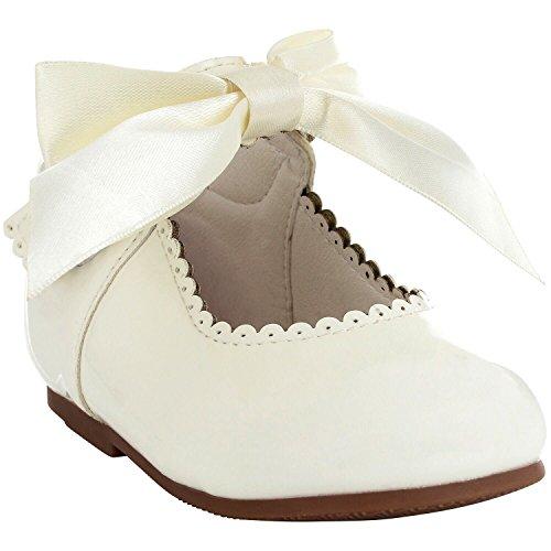 Tia London Mädchen Brautjungfern Bogenband Party Schuhe Patent Schuhe Infant Größen EUR 17-28 (Elfenbein Kleinkind-mädchen-kleid-schuhe)