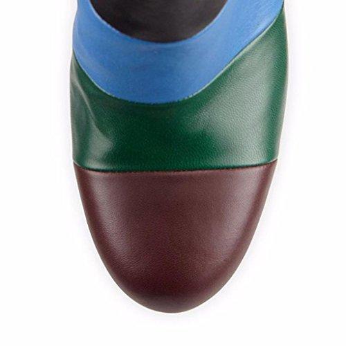 Stivaletti impermeabili della caviglia dellalto tallone della signora Autunno Inverno Booties Scarpe da banchetto Mostra gli stivali Pelle Taglia larga 8003FD , A , 44 A-42
