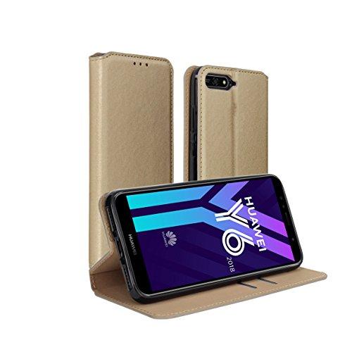 Huawei Y6 2018 Hülle AURSTORE Handyhülle Huawei Y6 2018 Tasche Leder Flip Case Brieftasche Etui Schutzhülle für Huawei Y6 2018 (Gold)
