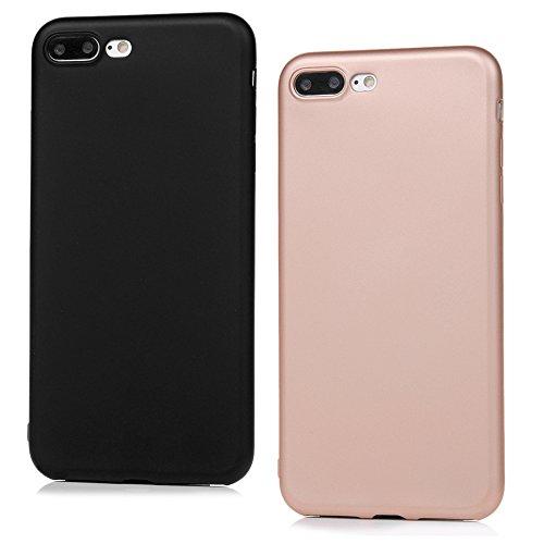 Lanveni 2×TPU Silikon Schutzhülle für iPhone 7 Plus Hülle Volltonfarbe Rückschale und TPU-Bumper Weiche Silikon Case Cover (Schwarz + Rosé-gold) Schwarz + Rosé-gold